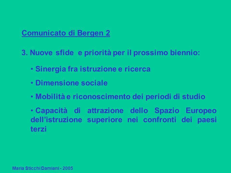 Maria Sticchi Damiani - 2005 Comunicato di Bergen 2 Sinergia fra istruzione e ricerca Dimensione sociale Mobilità e riconoscimento dei periodi di studio Capacità di attrazione dello Spazio Europeo dell'istruzione superiore nei confronti dei paesi terzi 3.