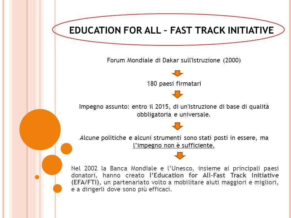 Forum Mondiale di Dakar sull Istruzione (2000) 180 paesi firmatari Impegno assunto: entro il 2015, di un istruzione di base di qualità obbligatoria e universale.