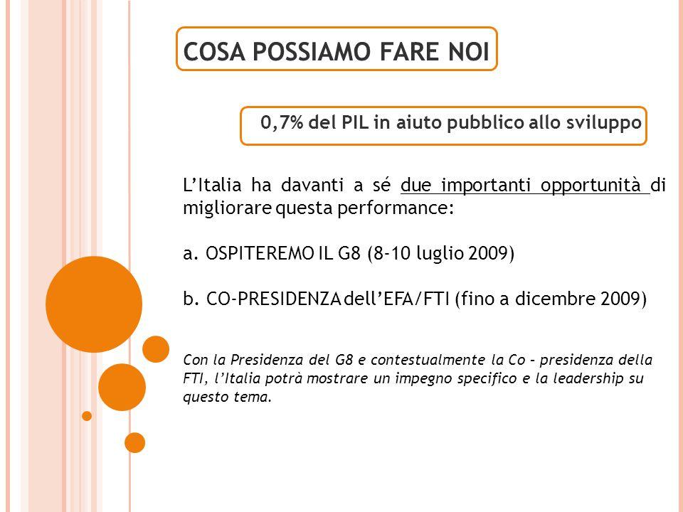 0,7% del PIL in aiuto pubblico allo sviluppo COSA POSSIAMO FARE NOI L'Italia ha davanti a sé due importanti opportunità di migliorare questa performance: a.