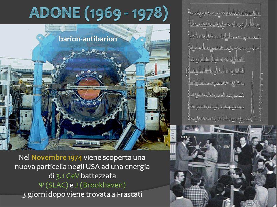 11 barion-antibarion Nel Novembre 1974 viene scoperta una nuova particella negli USA ad una energia di 3.1 GeV battezzata Ψ (SLAC) e J (Brookhaven) 3