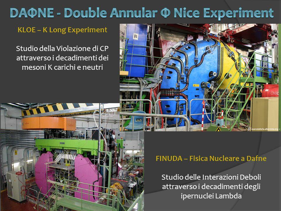 KLOE – K Long Experiment Studio della Violazione di CP attraverso i decadimenti dei mesoni K carichi e neutri FINUDA – Fisica Nucleare a Dafne Studio