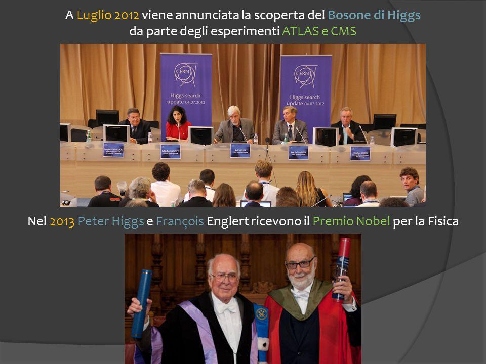 A Luglio 2012 viene annunciata la scoperta del Bosone di Higgs da parte degli esperimenti ATLAS e CMS Nel 2013 Peter Higgs e François Englert ricevono