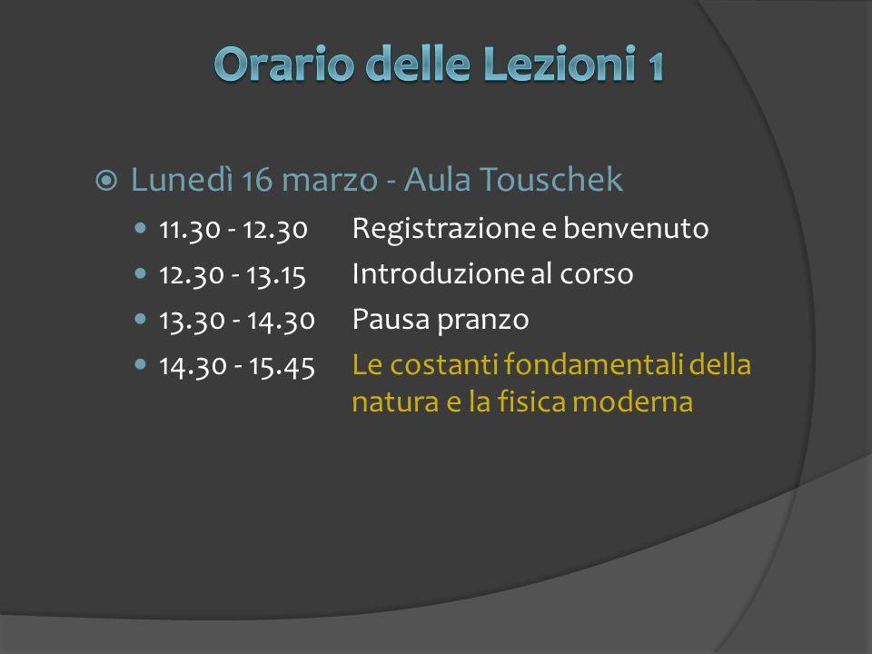  Lunedì 16 marzo - Aula Touschek 11.30 - 12.30Registrazione e benvenuto 12.30 - 13.15Introduzione al corso 13.30 - 14.30Pausa pranzo 14.30 - 15.45Le