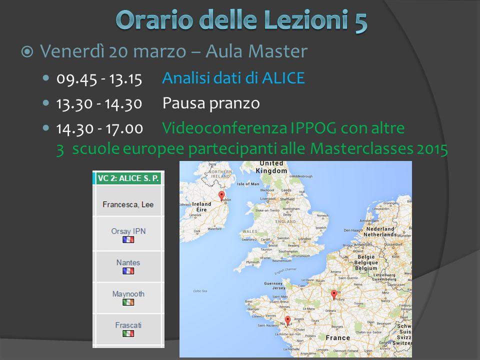  Venerdì 20 marzo – Aula Master 09.45 - 13.15Analisi dati di ALICE 13.30 - 14.30Pausa pranzo 14.30 - 17.00Videoconferenza IPPOG con altre 3 scuole eu