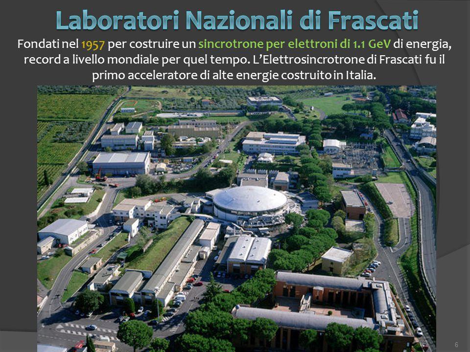 6 Fondati nel 1957 per costruire un sincrotrone per elettroni di 1.1 GeV di energia, record a livello mondiale per quel tempo. L'Elettrosincrotrone di