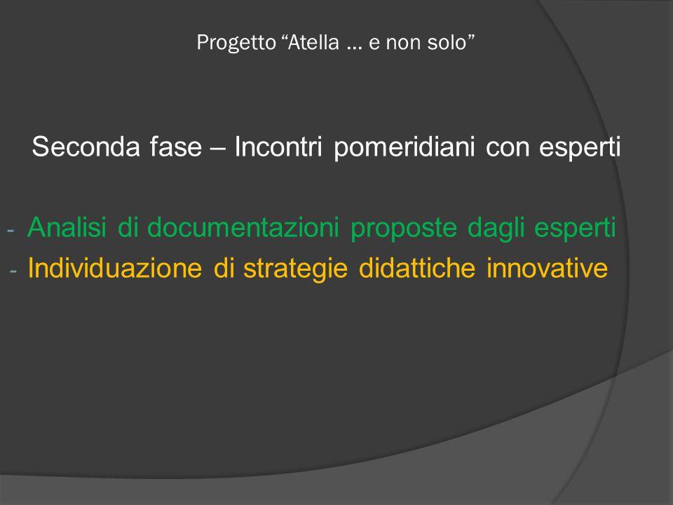 Progetto Atella … e non solo Seconda fase – Incontri pomeridiani con esperti - Analisi di documentazioni proposte dagli esperti - Individuazione di strategie didattiche innovative