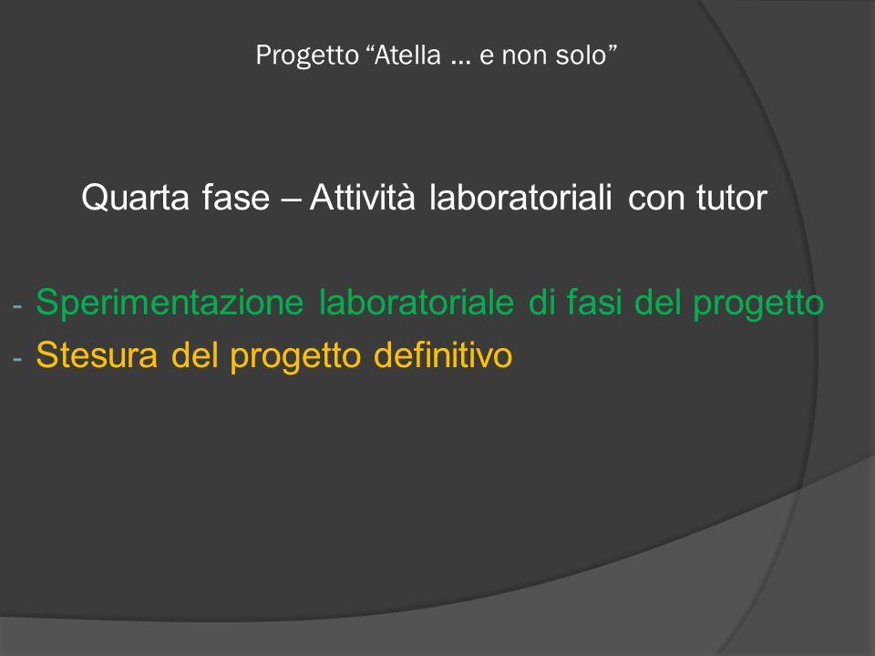 Progetto Atella … e non solo Quarta fase – Attività laboratoriali con tutor - Sperimentazione laboratoriale di fasi del progetto - Stesura del progetto definitivo