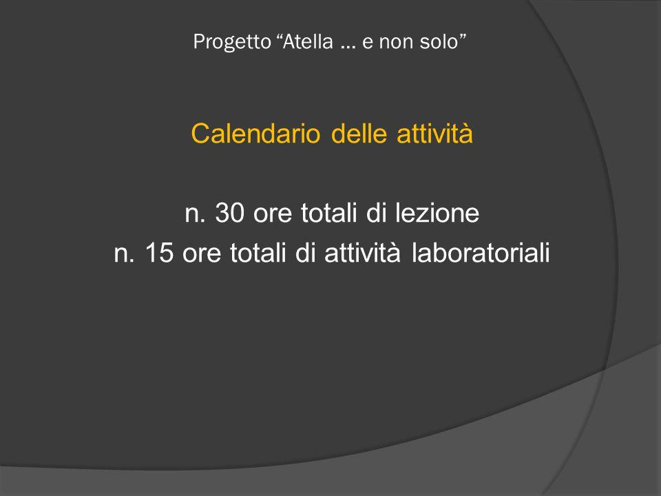 Progetto Atella … e non solo Calendario delle attività n.