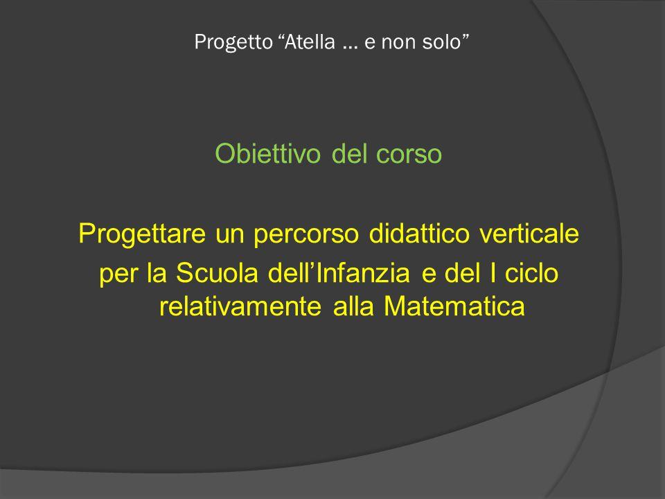 Progetto Atella … e non solo Obiettivo del corso Progettare un percorso didattico verticale per la Scuola dell'Infanzia e del I ciclo relativamente alla Matematica