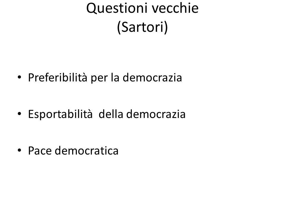 Questioni vecchie (Sartori) Preferibilità per la democrazia Esportabilità della democrazia Pace democratica