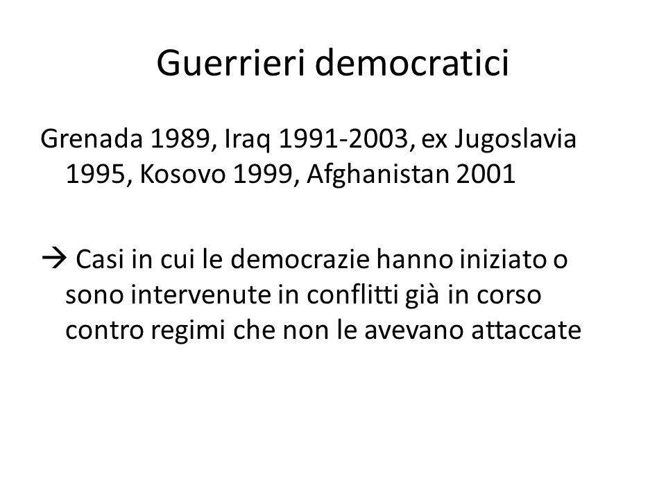 Guerrieri democratici Grenada 1989, Iraq 1991-2003, ex Jugoslavia 1995, Kosovo 1999, Afghanistan 2001  Casi in cui le democrazie hanno iniziato o sono intervenute in conflitti già in corso contro regimi che non le avevano attaccate