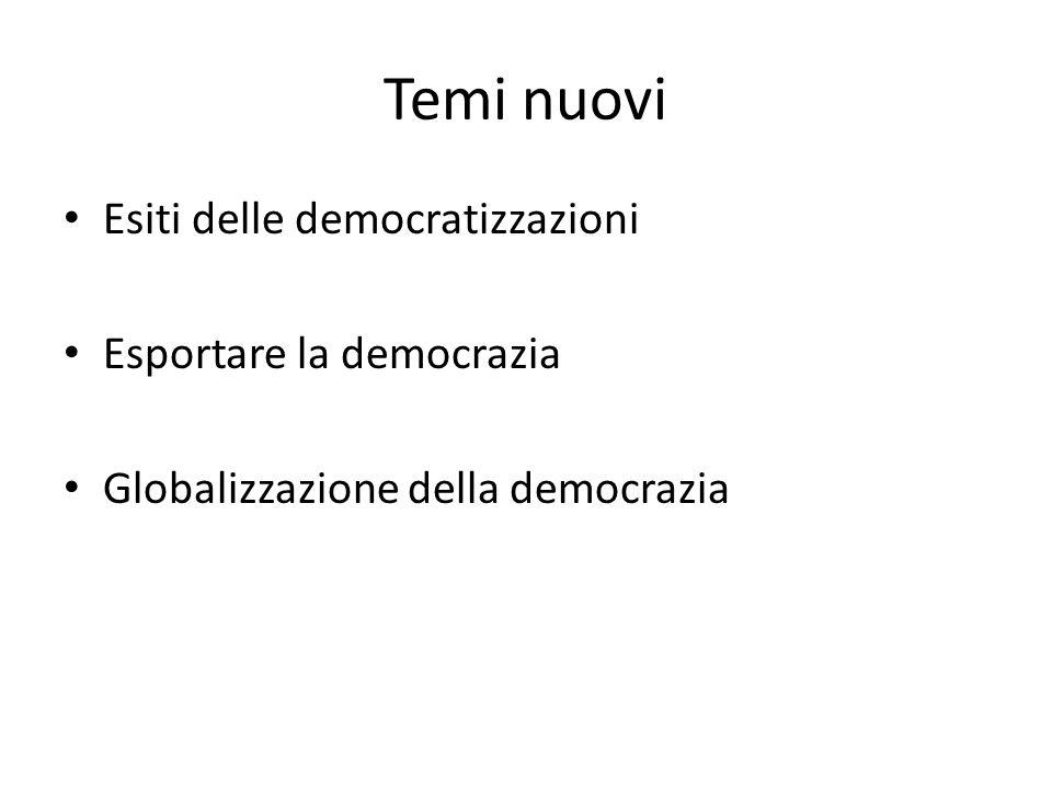 Temi nuovi Esiti delle democratizzazioni Esportare la democrazia Globalizzazione della democrazia