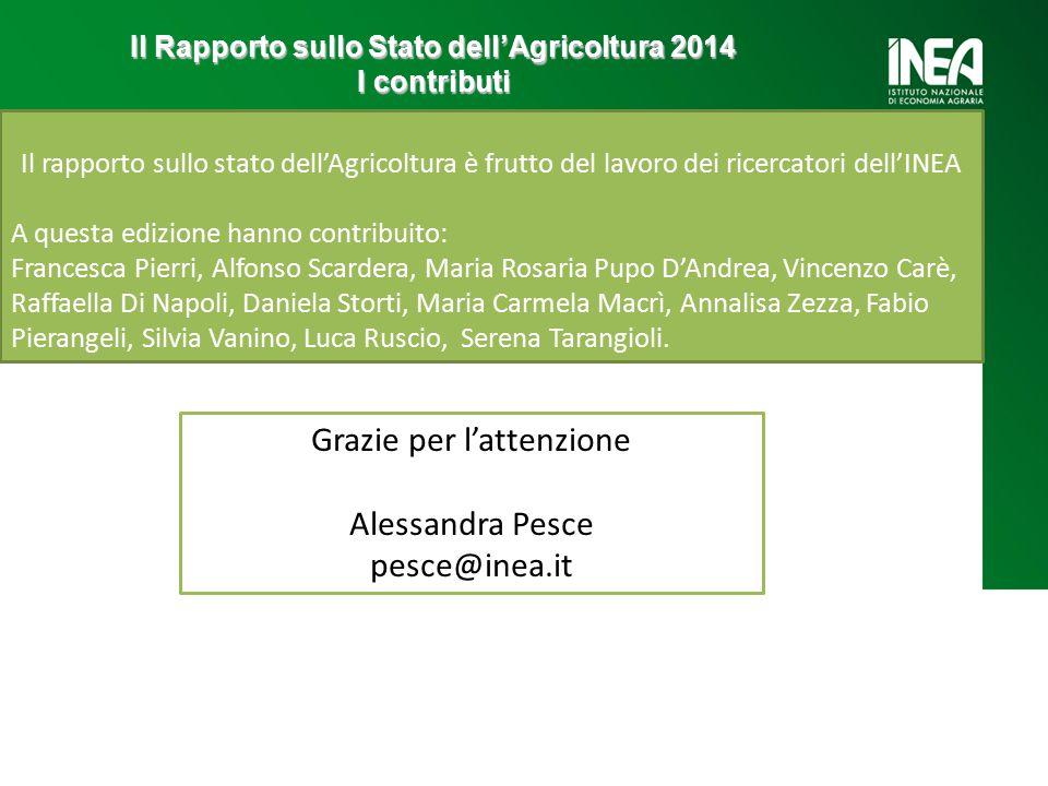 Il Rapporto sullo Stato dell'Agricoltura 2014 I contributi Il rapporto sullo stato dell'Agricoltura è frutto del lavoro dei ricercatori dell'INEA A qu