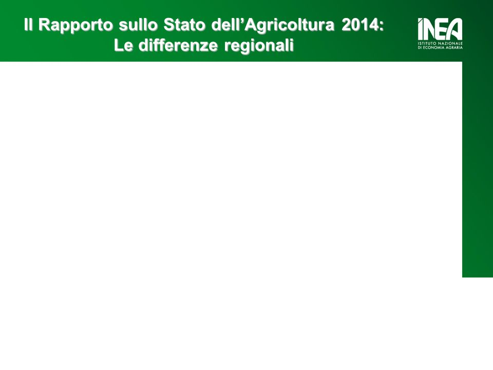 Il Rapporto sullo Stato dell'Agricoltura 2014: Le differenze regionali Valore aggiunto Agricolo Produttività terra e lavoro Lato della domanda: Investimenti Consumi Credito