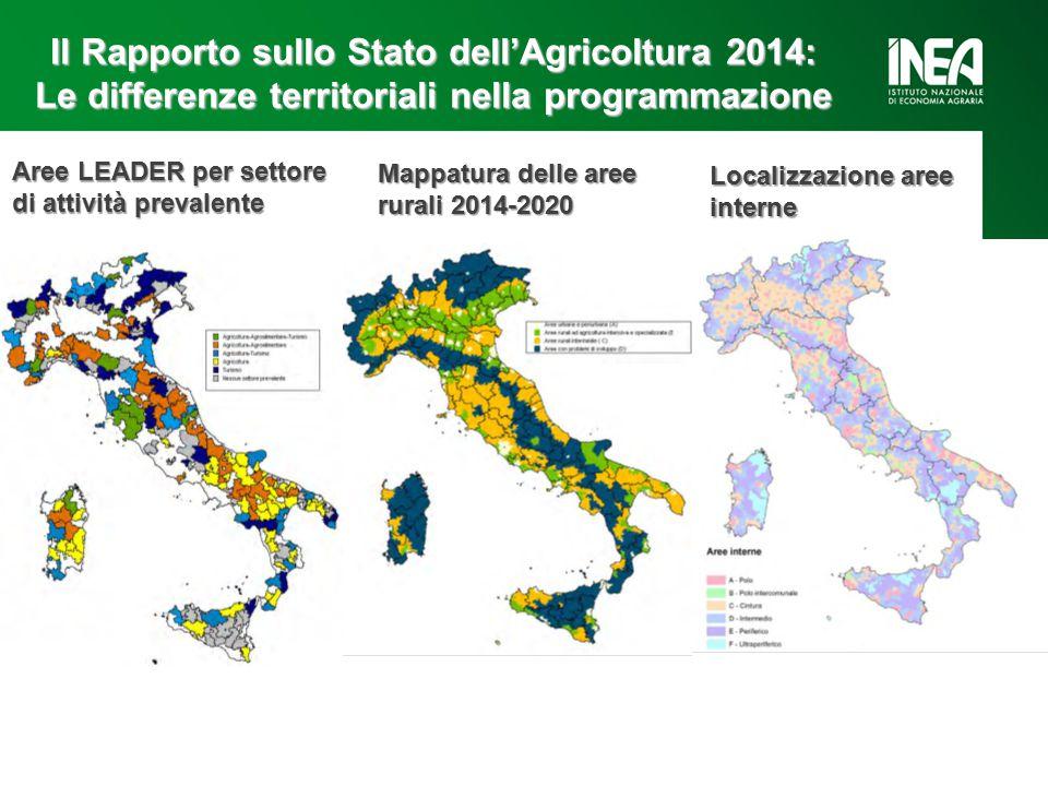 Il Rapporto sullo Stato dell'Agricoltura 2014: Le differenze territoriali nella programmazione Aree LEADER per settore di attività prevalente Mappatura delle aree rurali 2014-2020 Localizzazione aree interne