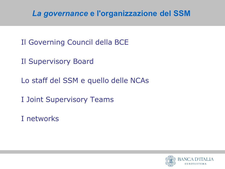 La governance e l organizzazione del SSM Il Governing Council della BCE Il Supervisory Board Lo staff del SSM e quello delle NCAs I Joint Supervisory Teams I networks