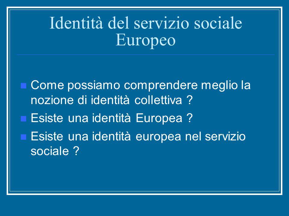 Identità del servizio sociale Europeo Come possiamo comprendere meglio la nozione di identità collettiva .