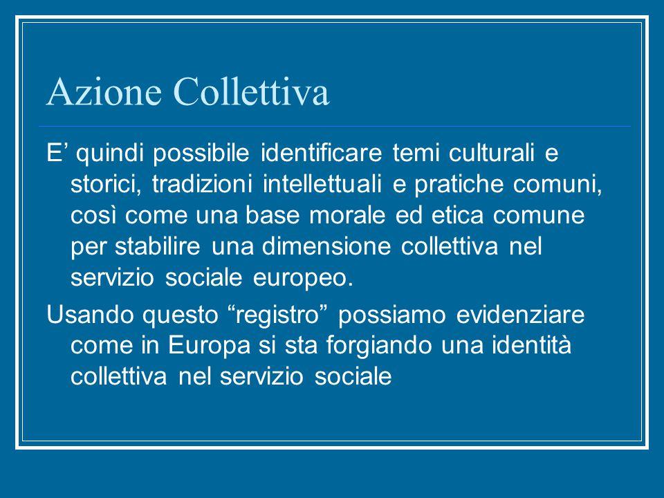 Azione Collettiva E' quindi possibile identificare temi culturali e storici, tradizioni intellettuali e pratiche comuni, così come una base morale ed etica comune per stabilire una dimensione collettiva nel servizio sociale europeo.
