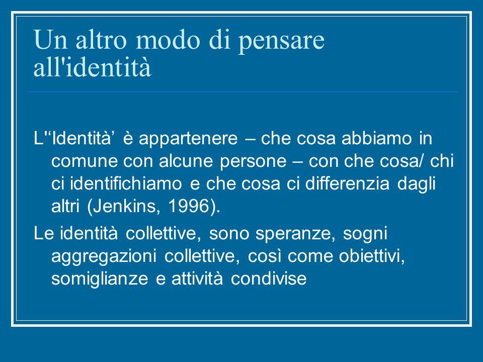 Un altro modo di pensare all identità L 'Identità' è appartenere – che cosa abbiamo in comune con alcune persone – con che cosa/ chi ci identifichiamo e che cosa ci differenzia dagli altri (Jenkins, 1996).