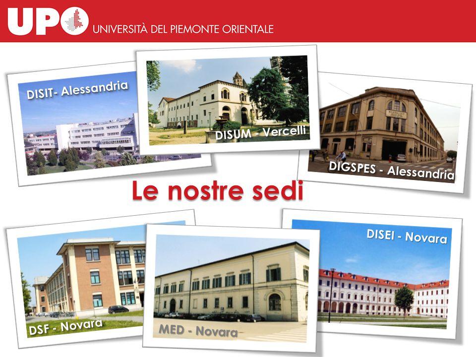 DISEI - Novara DISIT- Alessandria DIGSPES - Alessandria Le nostre sedi DSF - Novara DISEI - Novara MED - Novara DISUM - Vercelli