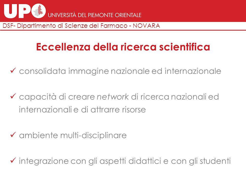 DSF- Dipartimento di Scienze del Farmaco - NOVARA Eccellenza della ricerca scientifica consolidata immagine nazionale ed internazionale capacità di cr