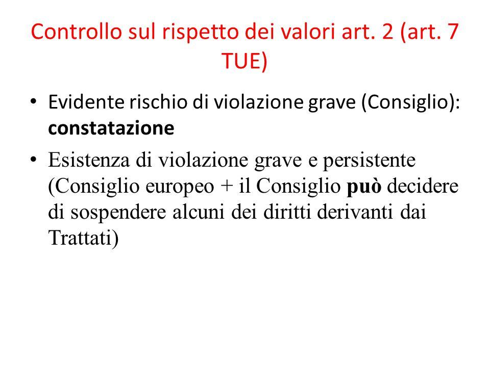 Controllo sul rispetto dei valori art. 2 (art.
