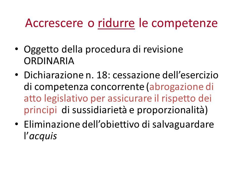 Accrescere o ridurre le competenze Oggetto della procedura di revisione ORDINARIA Dichiarazione n.