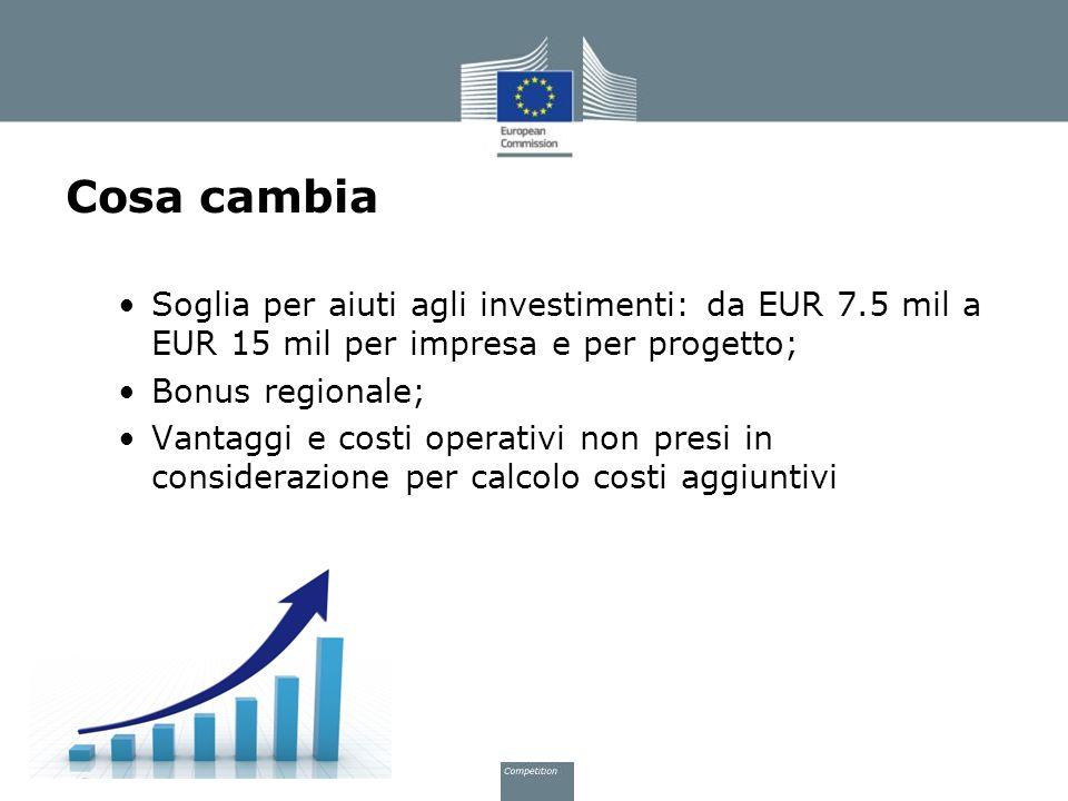 Cosa cambia Soglia per aiuti agli investimenti: da EUR 7.5 mil a EUR 15 mil per impresa e per progetto; Bonus regionale; Vantaggi e costi operativi no