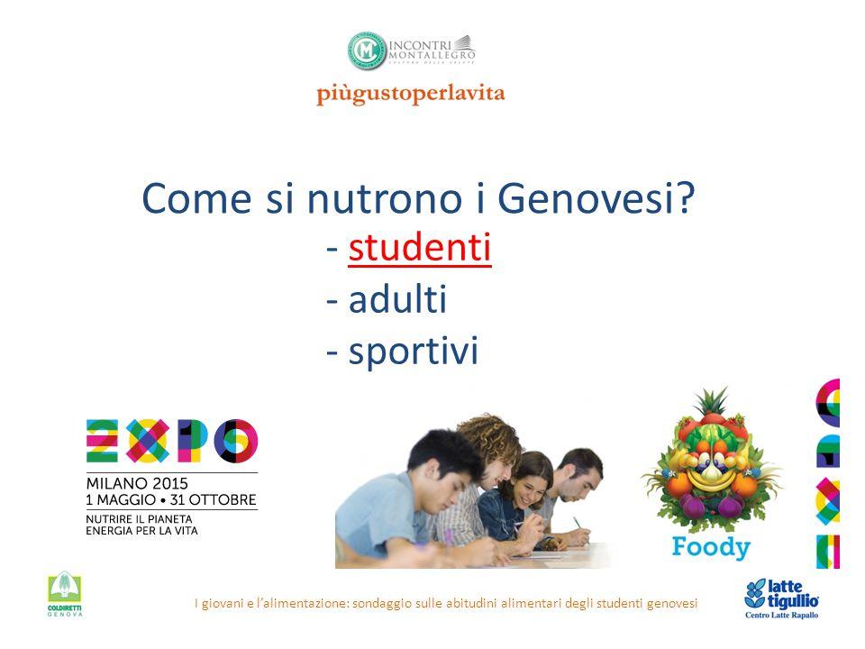Come si nutrono i Genovesi? I giovani e l'alimentazione: sondaggio sulle abitudini alimentari degli studenti genovesi - studenti - adulti - sportivi