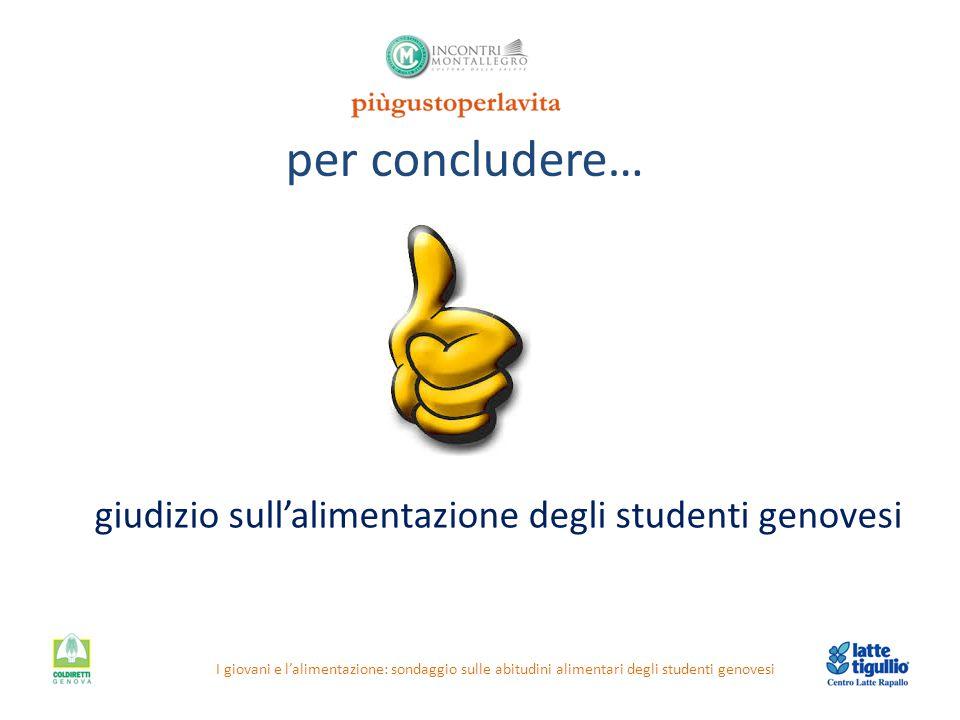 per concludere… I giovani e l'alimentazione: sondaggio sulle abitudini alimentari degli studenti genovesi giudizio sull'alimentazione degli studenti g