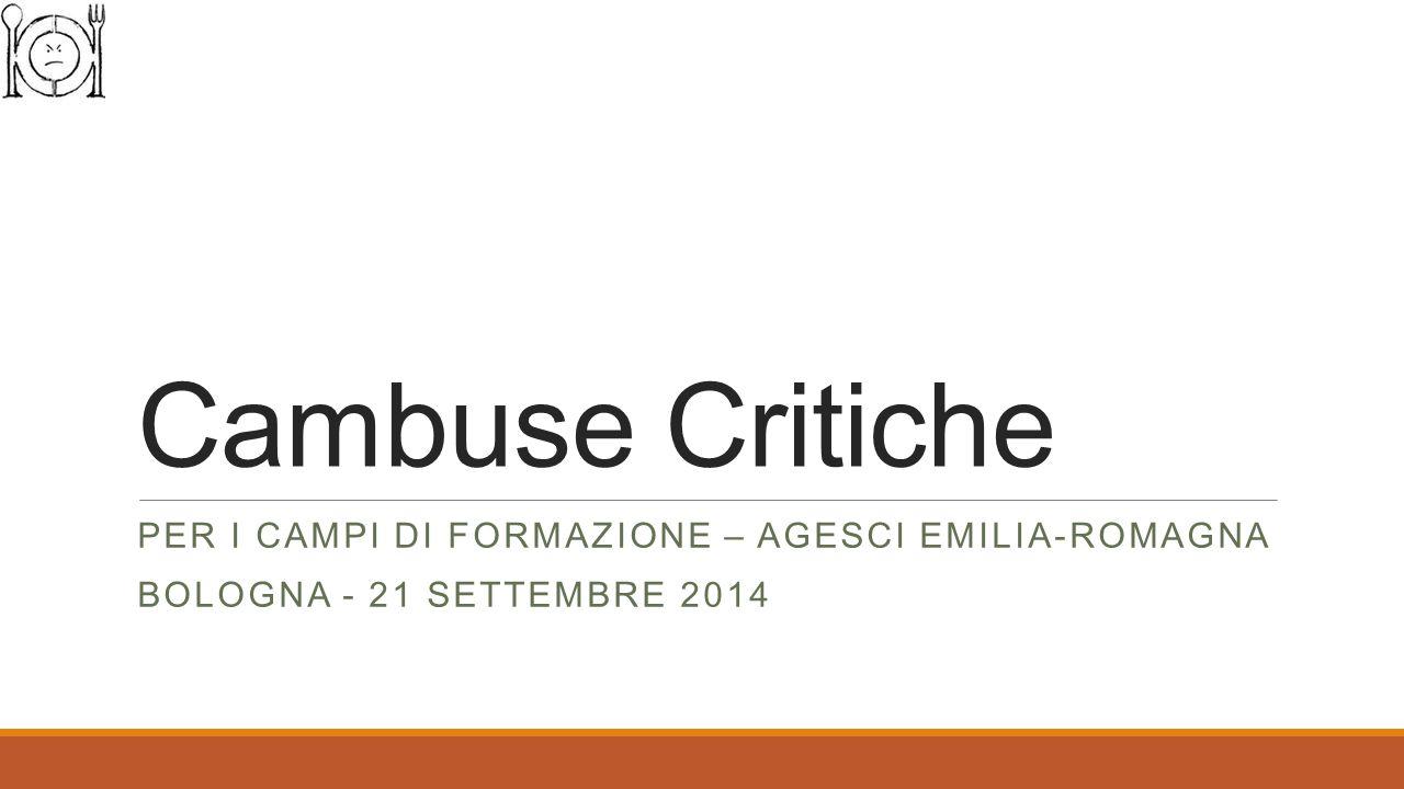 Cambuse Critiche PER I CAMPI DI FORMAZIONE – AGESCI EMILIA-ROMAGNA BOLOGNA - 21 SETTEMBRE 2014