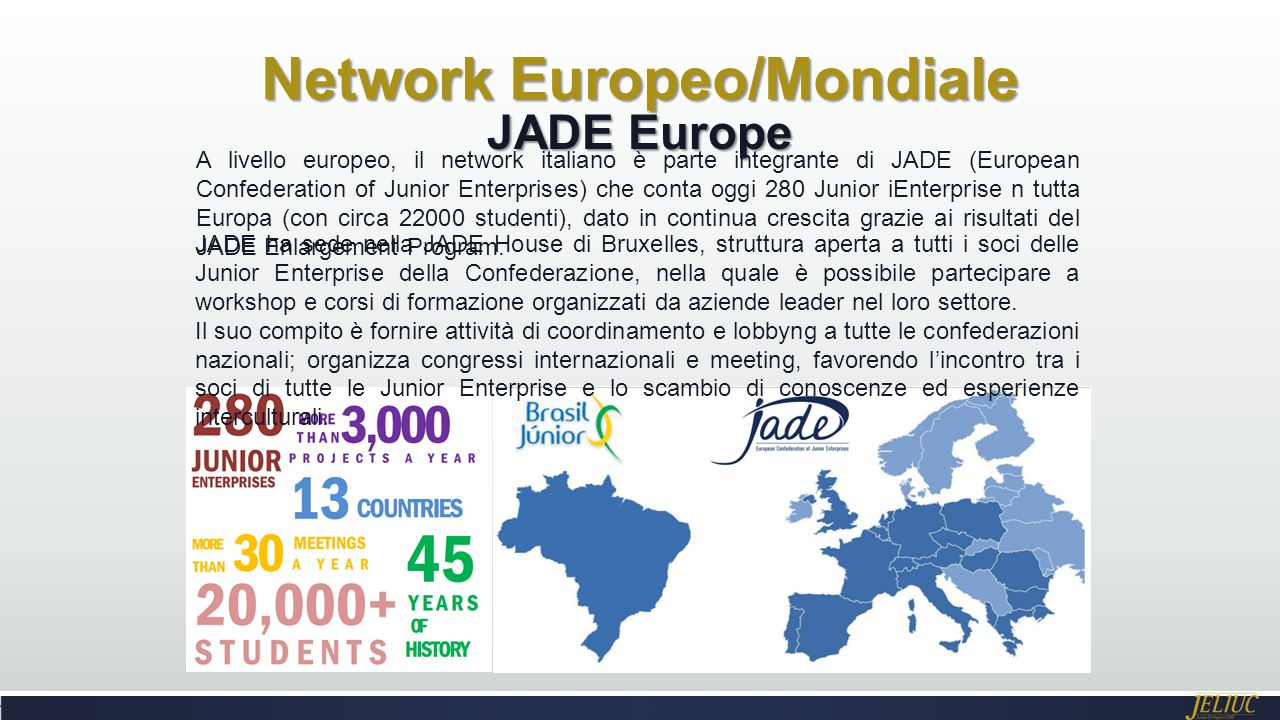 Network Europeo/Mondiale JADE Europe A livello europeo, il network italiano è parte integrante di JADE (European Confederation of Junior Enterprises)