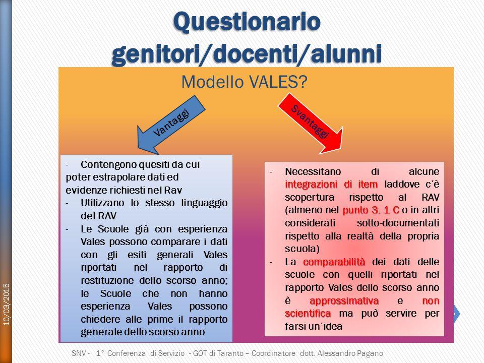 Modello VALES.10/03/2015 SNV - 1° Conferenza di Servizio - GOT di Taranto – Coordinatore dott.