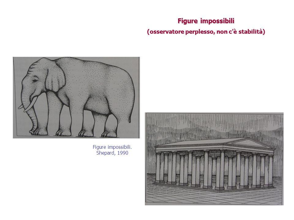 Figure impossibili (osservatore perplesso, non c'è stabilità) Figure impossibili. Shepard, 1990