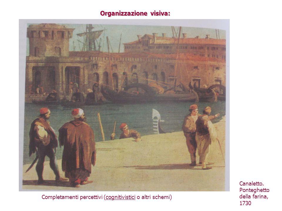 Organizzazione visiva: Completamenti percettivi (cognitivistici o altri schemi) Canaletto. Ponteghetto della farina, 1730