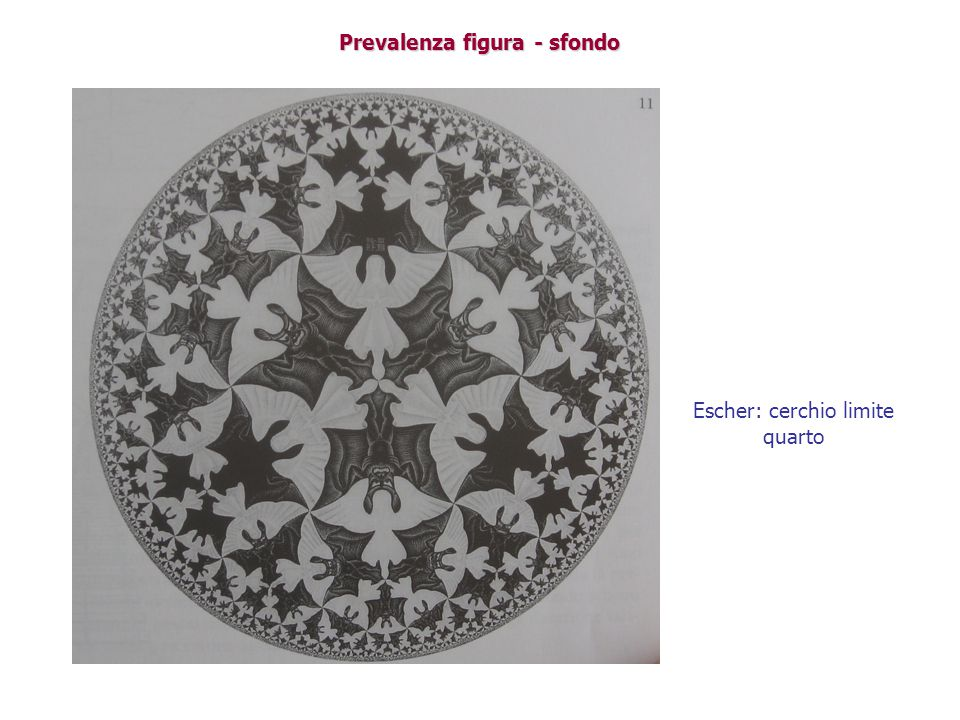 Prevalenza figura - sfondo Escher: cerchio limite quarto
