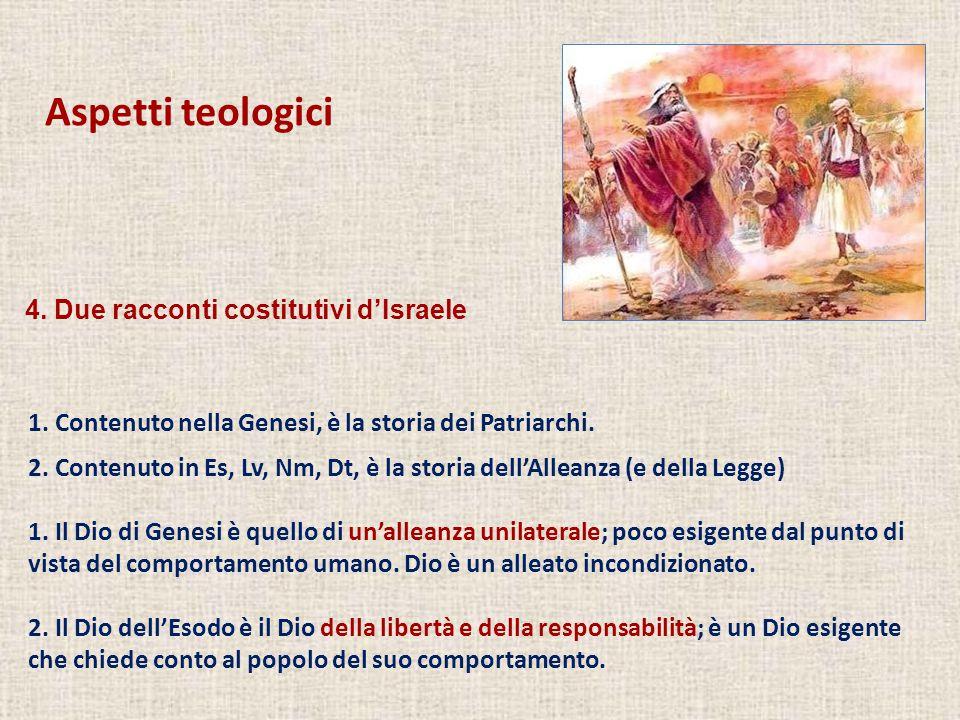 Aspetti teologici 1. Contenuto nella Genesi, è la storia dei Patriarchi. 2. Contenuto in Es, Lv, Nm, Dt, è la storia dell'Alleanza (e della Legge) 1.