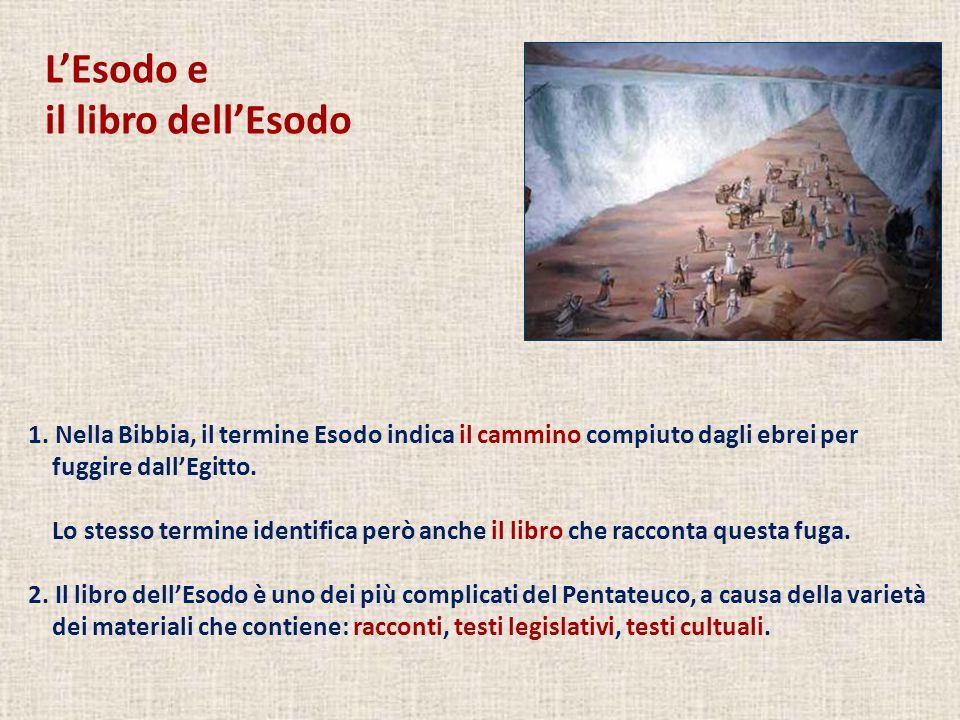 L'Esodo e il libro dell'Esodo 1. Nella Bibbia, il termine Esodo indica il cammino compiuto dagli ebrei per fuggire dall'Egitto. Lo stesso termine iden