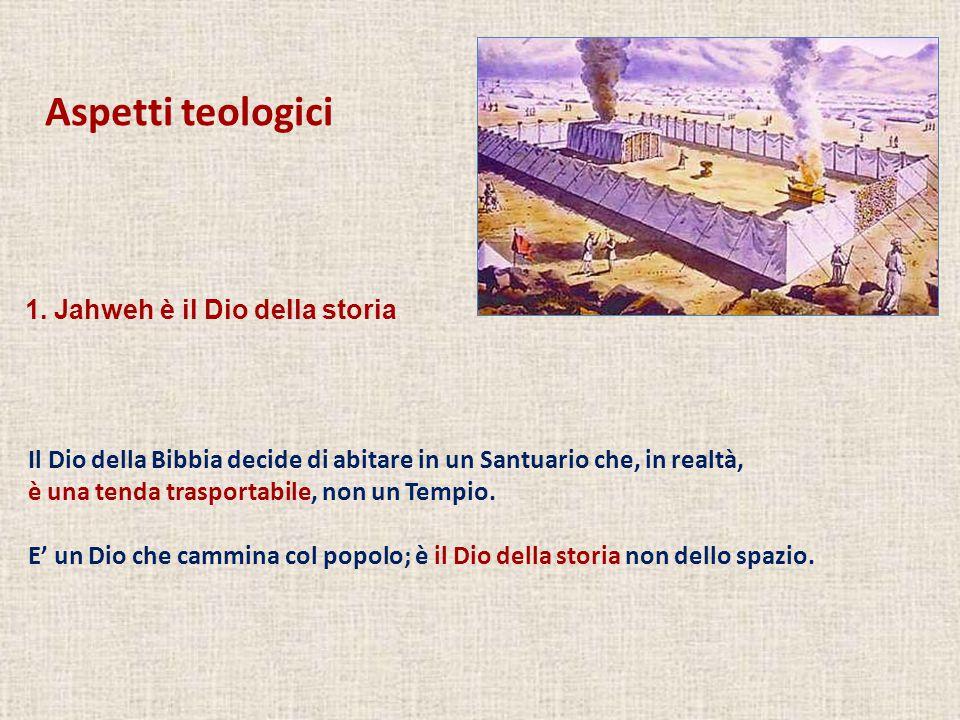 Aspetti teologici Il Dio della Bibbia decide di abitare in un Santuario che, in realtà, è una tenda trasportabile, non un Tempio. E' un Dio che cammin