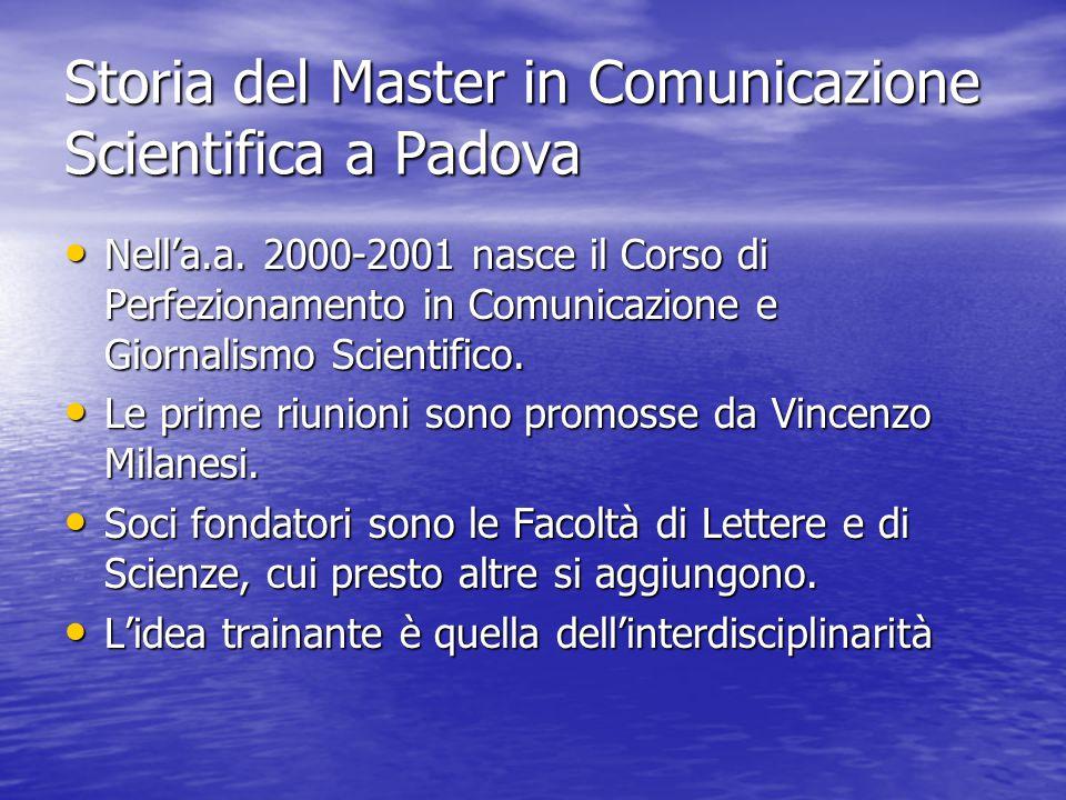 Storia del Master in Comunicazione Scientifica a Padova Nell'a.a.