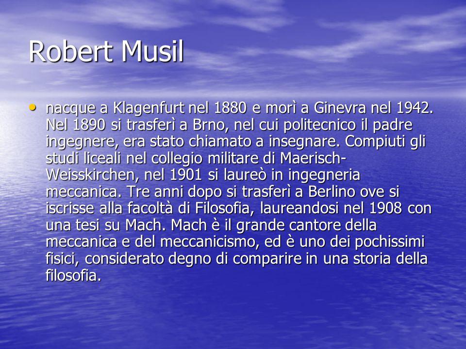 Robert Musil nacque a Klagenfurt nel 1880 e morì a Ginevra nel 1942.