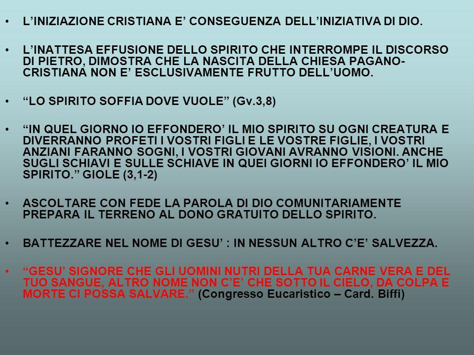 L'INIZIAZIONE CRISTIANA E' CONSEGUENZA DELL'INIZIATIVA DI DIO. L'INATTESA EFFUSIONE DELLO SPIRITO CHE INTERROMPE IL DISCORSO DI PIETRO, DIMOSTRA CHE L