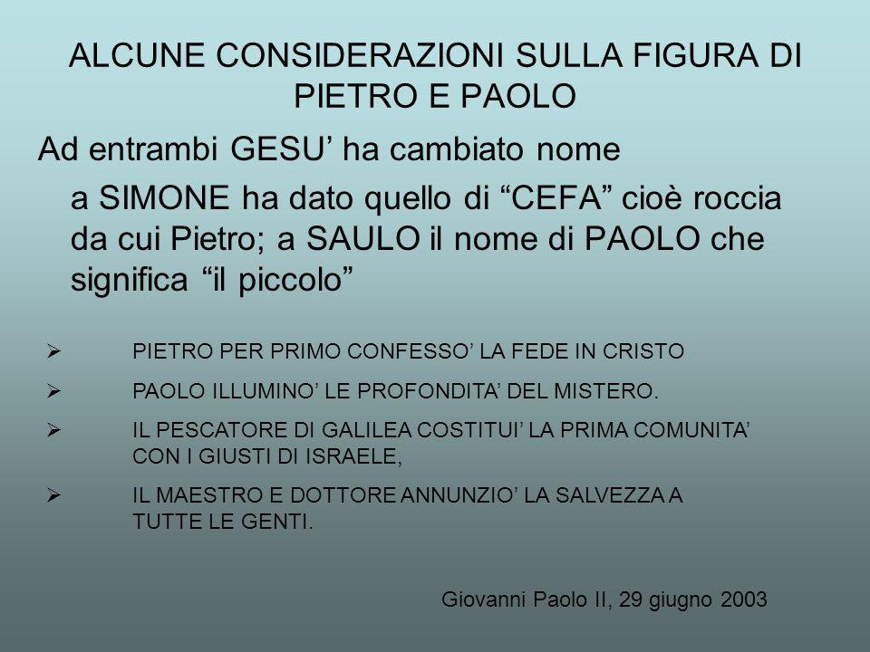"""Ad entrambi GESU' ha cambiato nome a SIMONE ha dato quello di """"CEFA"""" cioè roccia da cui Pietro; a SAULO il nome di PAOLO che significa """"il piccolo"""" """