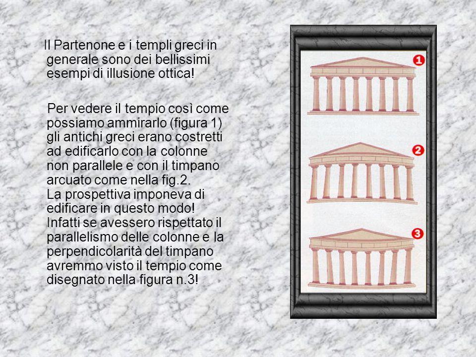 Il Partenone e i templi greci in generale sono dei bellissimi esempi di illusione ottica! Per vedere il tempio così come possiamo ammirarlo (figura 1)