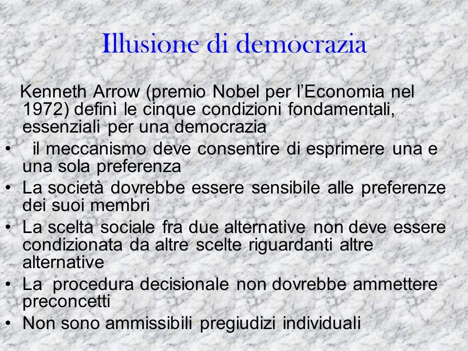 Illusione di democrazia Kenneth Arrow (premio Nobel per l'Economia nel 1972) definì le cinque condizioni fondamentali, essenziali per una democrazia i