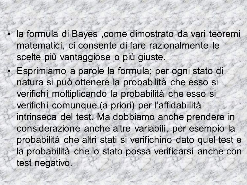 la formula di Bayes,come dimostrato da vari teoremi matematici, ci consente di fare razionalmente le scelte più vantaggiose o più giuste. Esprimiamo a