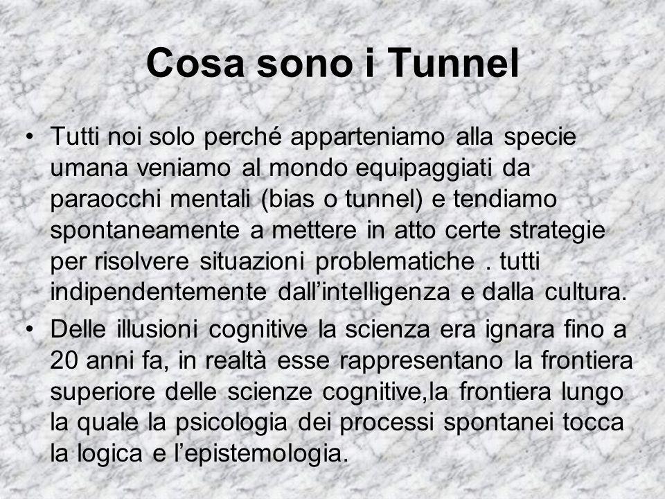 Cosa sono i Tunnel Tutti noi solo perché apparteniamo alla specie umana veniamo al mondo equipaggiati da paraocchi mentali (bias o tunnel) e tendiamo