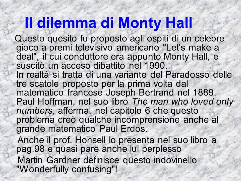Il dilemma di Monty Hall Questo quesito fu proposto agli ospiti di un celebre gioco a premi televisivo americano