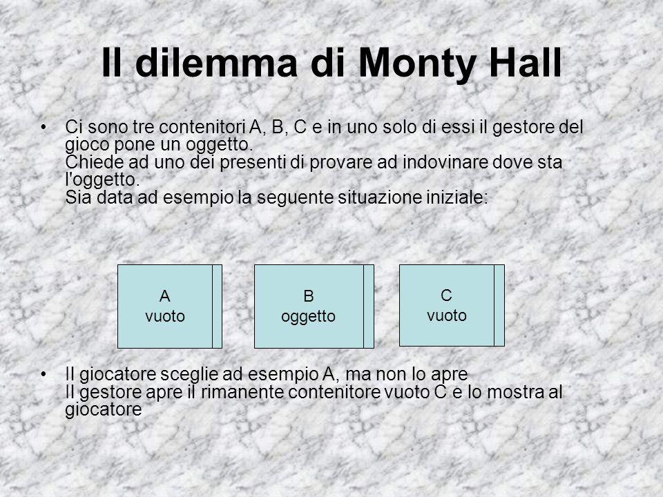 Il dilemma di Monty Hall Ci sono tre contenitori A, B, C e in uno solo di essi il gestore del gioco pone un oggetto. Chiede ad uno dei presenti di pro
