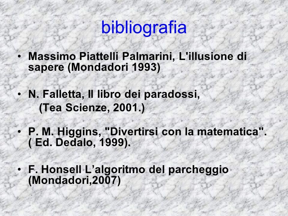 bibliografia Massimo Piattelli Palmarini, L'illusione di sapere (Mondadori 1993) N. Falletta, Il libro dei paradossi, (Tea Scienze, 2001.) P. M. Higgi